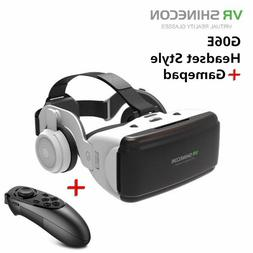 3D VR Virtual Reality Glasses Headsets + Remote Control For